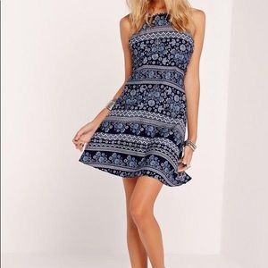 Missguided Blue Halter Neck Swing Dress